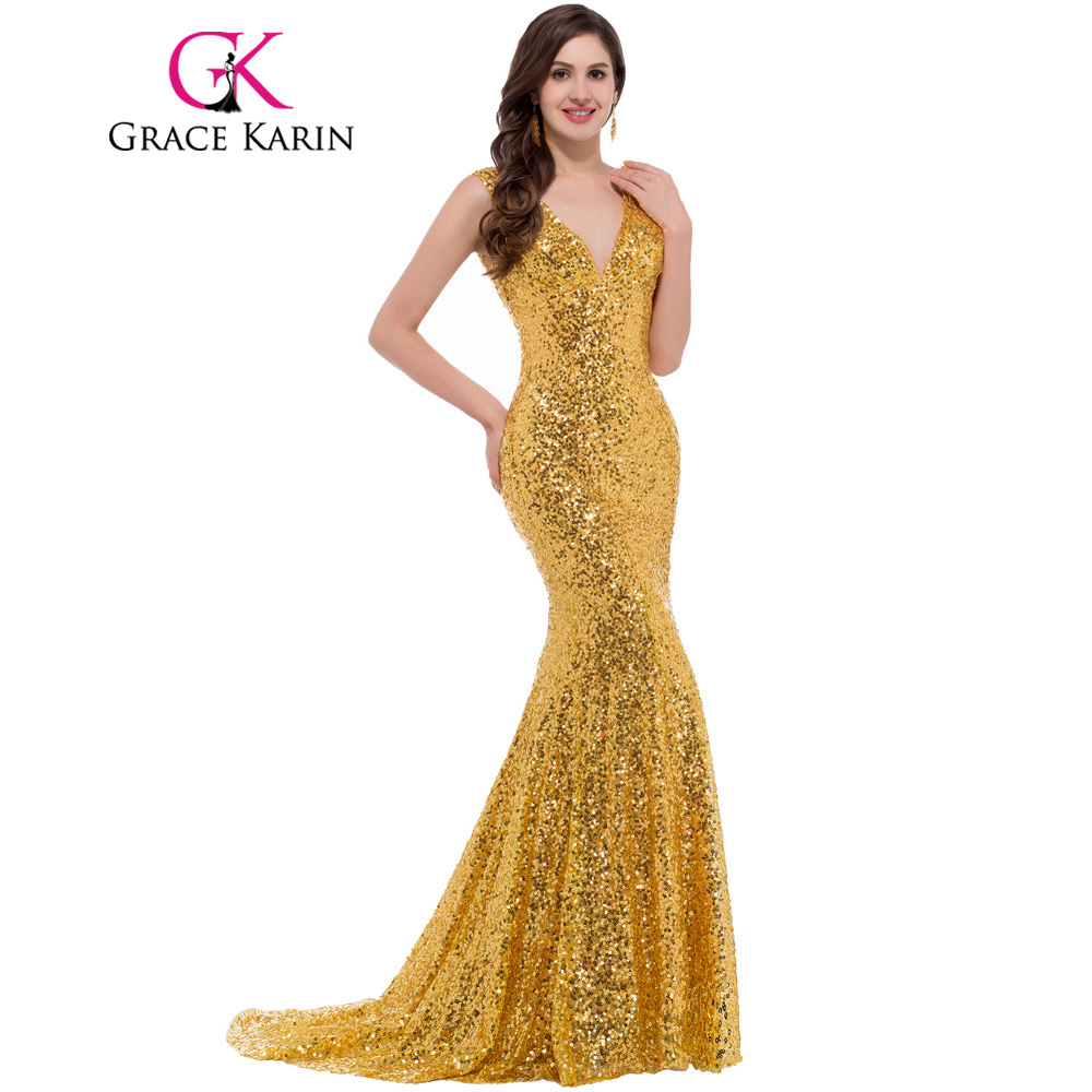 Grace Karin Luxury Long Evening Dress Sequin Mermaid Evening Gown Deep V Red Golden Formal Prom