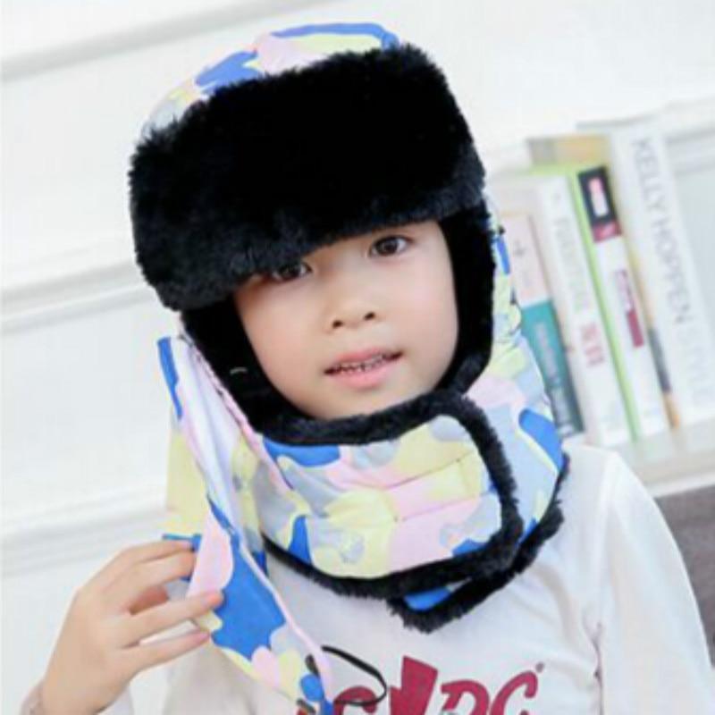 Которая в душе семья мех бомбер шляпа для женщин и мужчин ушные щитки Русская Шапка Детская уличная теплая утолщенная зимняя шапка с шарфом маска - Цвет: kids camo pink