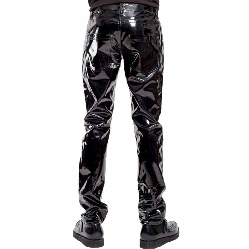 Punk Style Gothic Man Pants Sexy Wetlook Latex Vinyl Zipper Trousers Men Fashion Faux Leather Pole Dance Gay Fetish Pantalones Hombre (2)