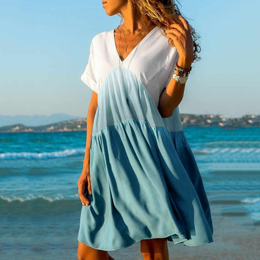 Women's Casual Patchwork Summer Dress Gradient Color V-neck Short Sleeve Ruffled Loose Dress Fashion beach dresses Women vestido