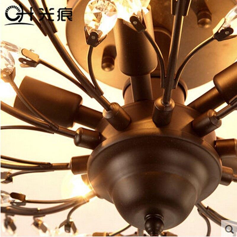 Американский стиль в винтажном стиле, люстра с кристаллами, E14 LED интерфейс, железные потолочные лампы, K9 хрустальный дизайн, осветительный п...