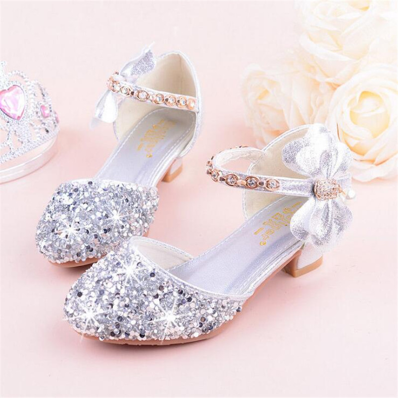 Girls Sandals High Heels 2019 Spring And Summer Rhinestones Bow Princess Performance /wedding Crystal Single Shoes Shiny Silver