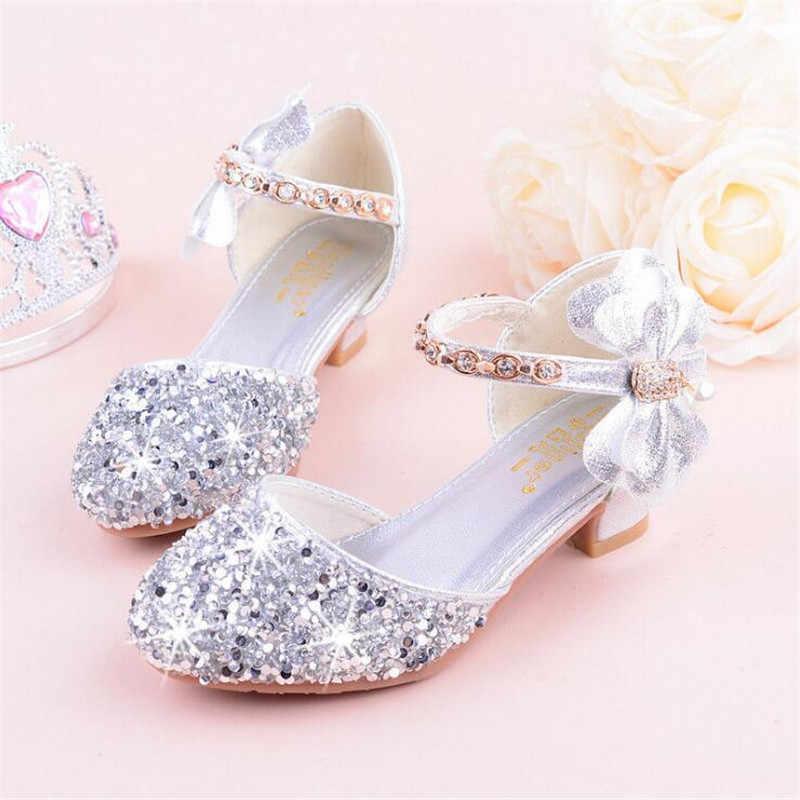 95e4a89a65c Girls sandals high heels 2019 spring and summer rhinestones bow princess  Performance  wedding crystal single