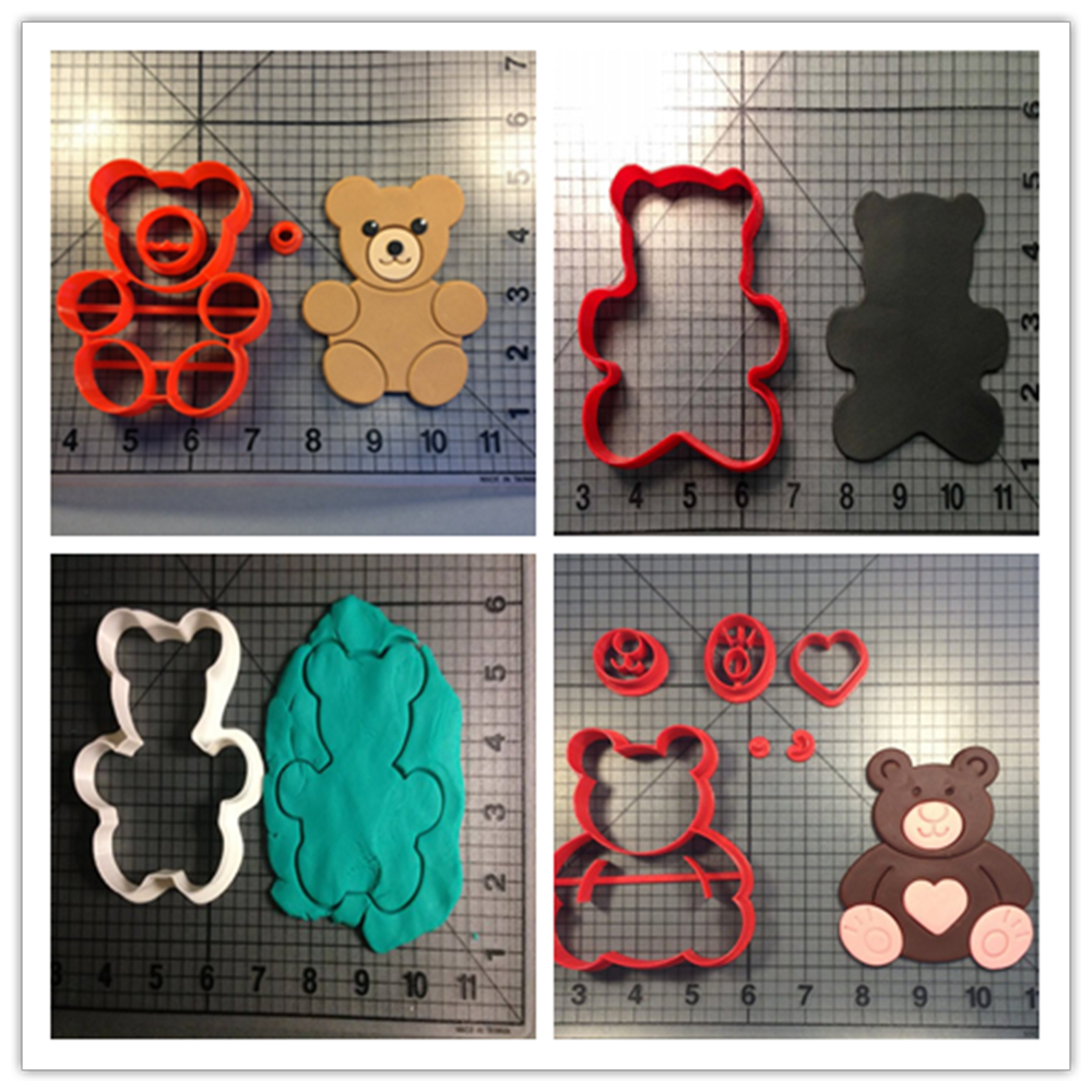 Lovely Teddy Bear Cake Decorating Verktøy Made 3D Printed Cookie Cutter Set Fondant Cupcake Former Kjøkken Tilbehør