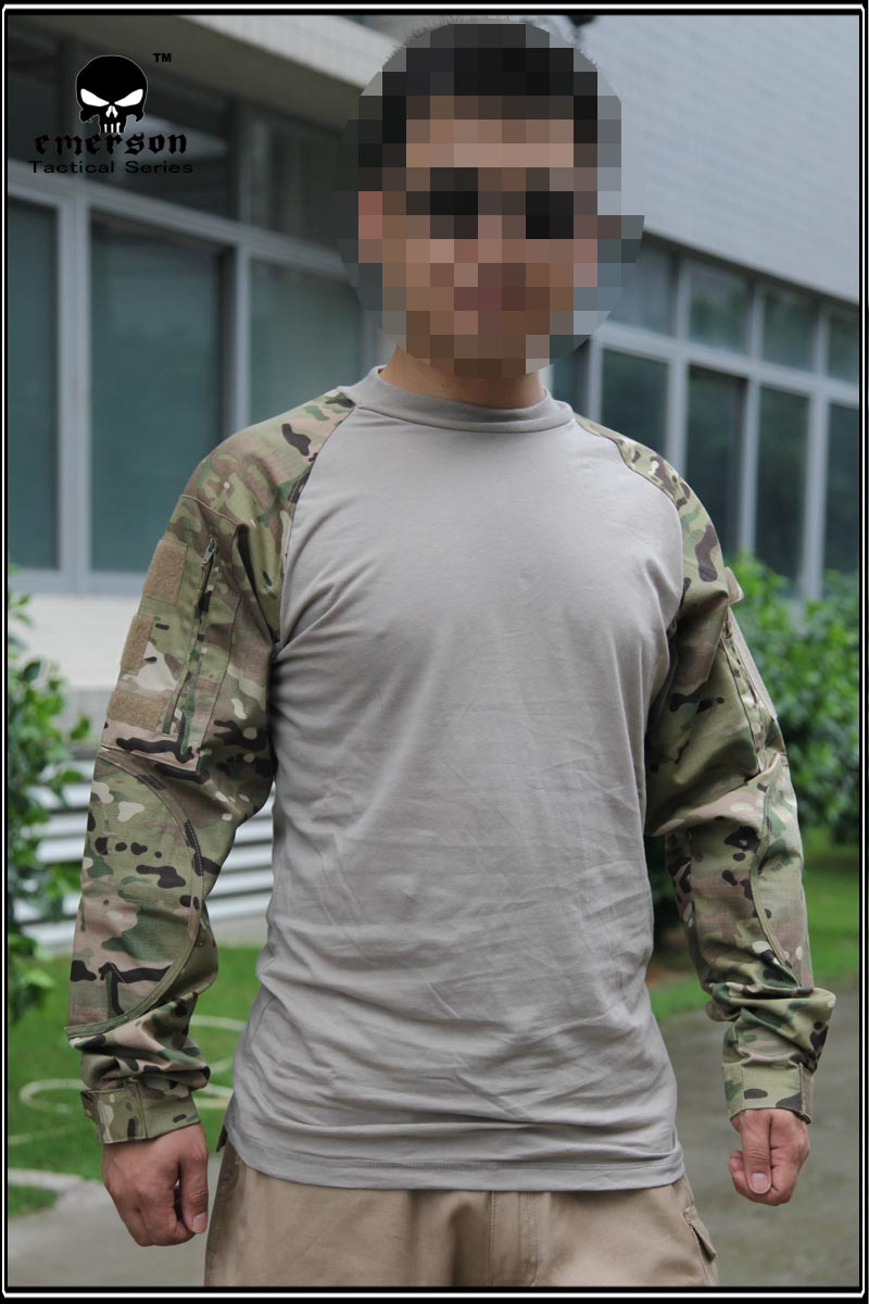 eefae60d Emerson Combat Shirts Military Airsoft Round Collar Tactical Long Sleeve T  shirts EM8515 Multicam MC-in Hiking T-shirts from Sports & Entertainment on  ...