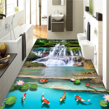 beibehang Fashion custom classic waterproof wallpaper waterfall water dreams jungle 3D floor painting wall papers home decor free shipping custom magnificent waterfall 3d floor sticker painting non slip wear waterproof floor wallpaper mural