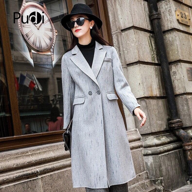 Couleur Dame Style Grey white 2018 Pudi Poche D'impression Hiver Veste Avec Loisirs Femmes Ro18051 Nouvelle Manteau Automne Laine Long Ajc34RLSq5