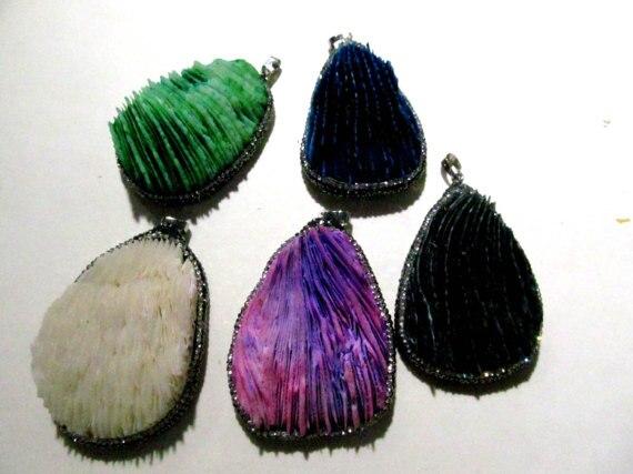 6 pièces pendentif corail fait main 30-60mm, pendentif goutte, breloque en forme de larme, bague coeur vert Violet Violet noir perles focales
