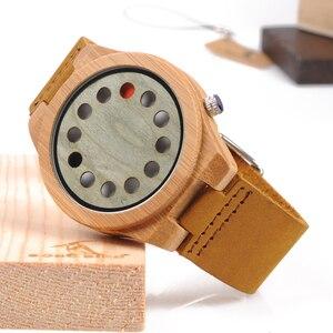 Image 3 - レロジオ masculino ボボ鳥メンズ腕時計手作りグリーン木製革バンドクォーツ腕時計受け入れるロゴドロップシッピング