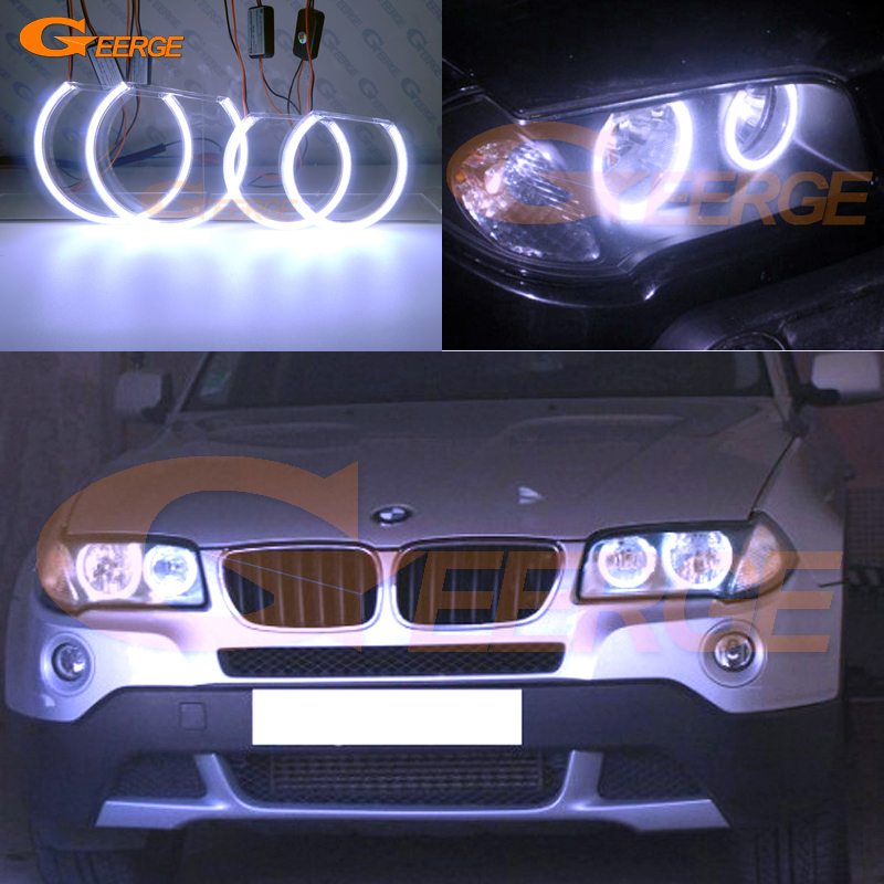 For BMW E83 X3 2003-2010 headlight Excellent Ultra bright illumination COB led angel eyes kit halo rings free shipping super bright ccfl angel eyes halo rings kit for bmw e83 x3 auto headlight 4 rings 2 waterproof inverters page 7