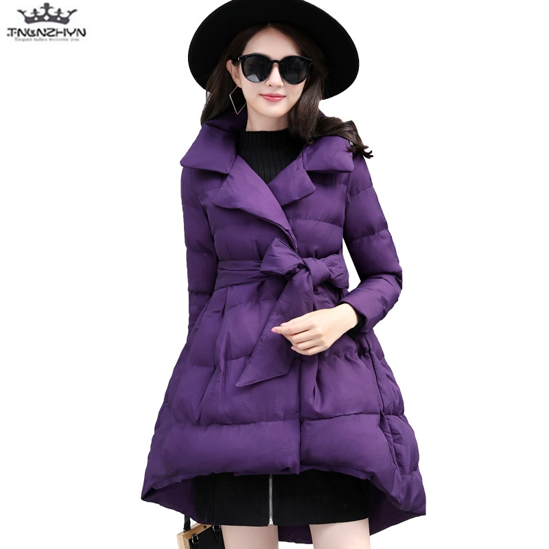 tnlnzhyn 2017 New Winter Jaket Women Fashion A-line Medim long Down Cotton Jacket thick  ...