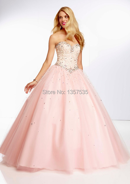 Free Shippng 2014 Soft Pink Prom Dresses Ball Gown Sweetheart