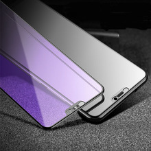 Anti-Purple Light 9H Full Cover Tempered Glass for iPhone XR XS XSMAX X 6 6s 7 8 Plus  Screen Protector Protecive