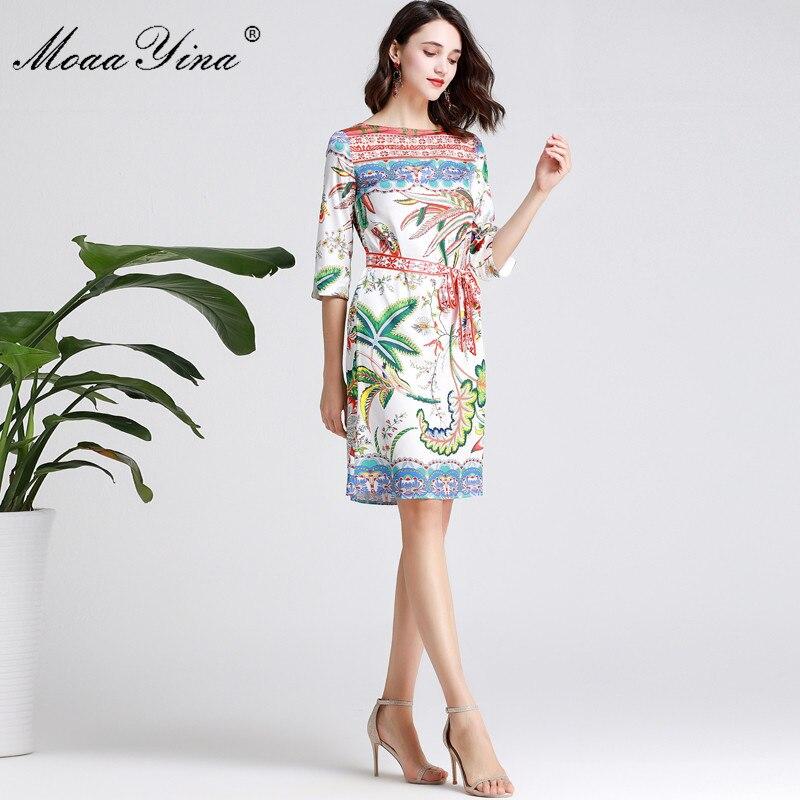 MoaaYina Mode Designer Runway kleid Frühling Sommer Frauen Kleid Halbe hülse Floral Print Urlaub Kleider-in Kleider aus Damenbekleidung bei  Gruppe 3