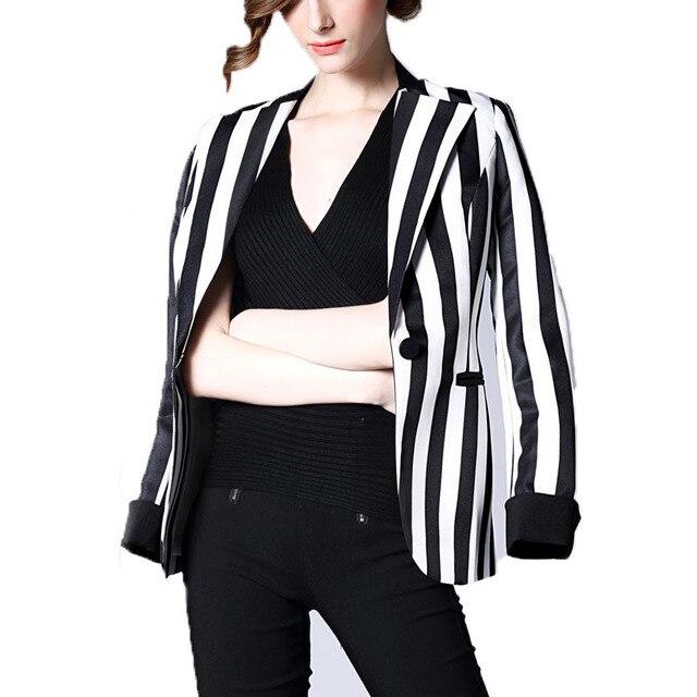 2016 moda blanco y negro rayado Vertical chaqueta del