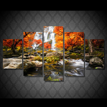 5 pcs Autumn Nature Lake Forest Waterfall Landscape Painting