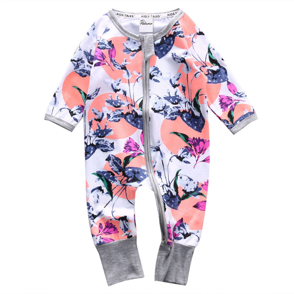 Autumn Cute Newborn Toddler Infant Baby Girls Clothes Long Sleeve Zipper Floral Baby Girl Romper Jumpsuit Baby Outfit Clothes