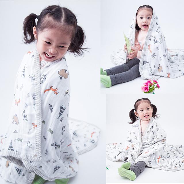 120X120 cm Árbol de Otoño de Alta Calidad de Muselina 3 capas 70% Amplio Borde De Bambú 30% Gasa de Algodón Recién Nacido Del Bebé Sueño infantil Manta