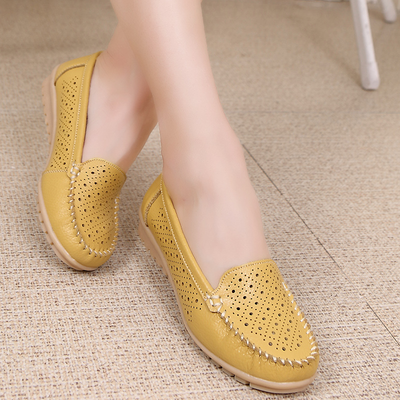 Ariari Summer Women flats Women Genuine Leather Driving Shoes Woman Ballet Loafers Slip on Naked Fla
