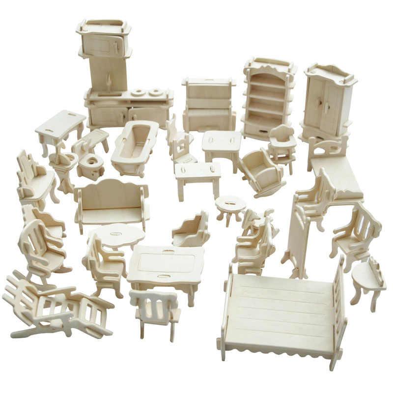 Doub K деревянная игрушечная мебель для кукольного домика куклы сборка моделирование ролевые игры головоломка игрушки для детей девочек детские подарки