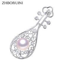 ZHBORUINI New Design Fine Jewelry Natural Freshwater Pearl Brooch Chinese Style Instruments Pipa Pins Women