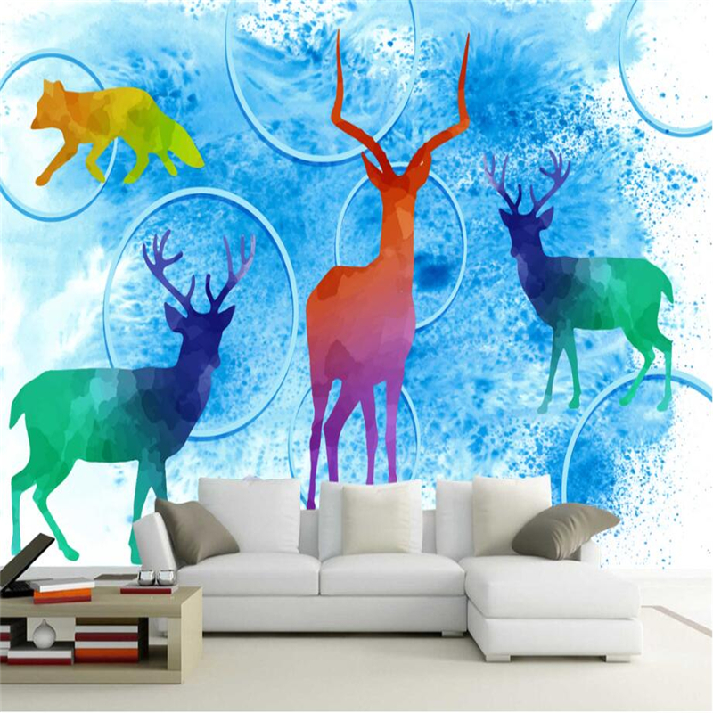 3d Abstract Wallpapers Stereo Circle Watercolor Elk Animal Wallpaper for Kids Room Modern 3d Wallpaper for Living Room Bedroom beibehang modern luxury circle design wallpaper 3d stereoscopic mural wallpapers non woven home decor wallpapers flocking wa