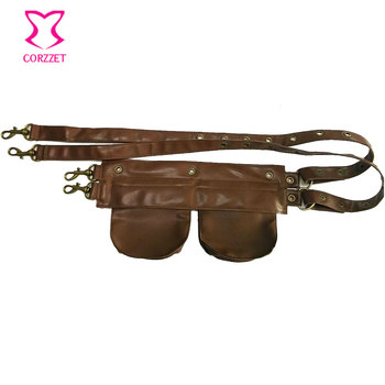 Brown Faux Leather Men / Women Small Pouch Bags Waist Pocket Belt Gothic Corset Steampunk Clothing Burlesque Costume Accessories 1