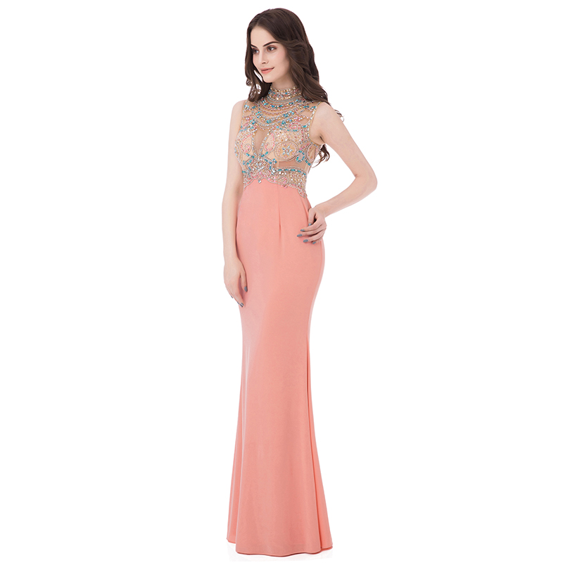 Sexy Illusion Beading Crystal Celebrity Dresses Coral Jersey High Neck Special Occasion Dress Long Mermaid Red Carpet Gown OL291 in Celebrity Inspired Dresses from Weddings Events