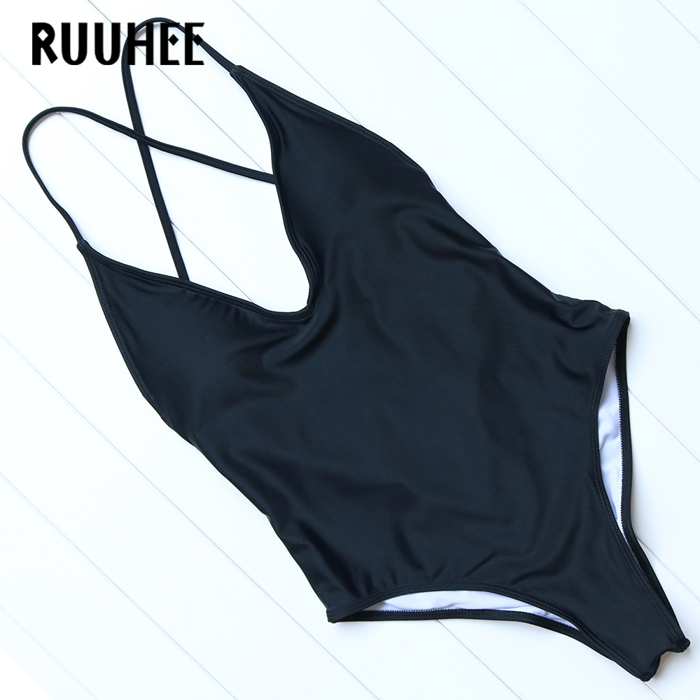 RUUHEE Sexy One Pieces Swimsuit Solid Bikini 2017 Female Bathing Suit Blackless Summer Beach Wear Swimwear Women With Pad 2017 may beach halter bikini one pieces indoor asian swimsuit miley cyrus costume departure beach black swimsuit seafolly