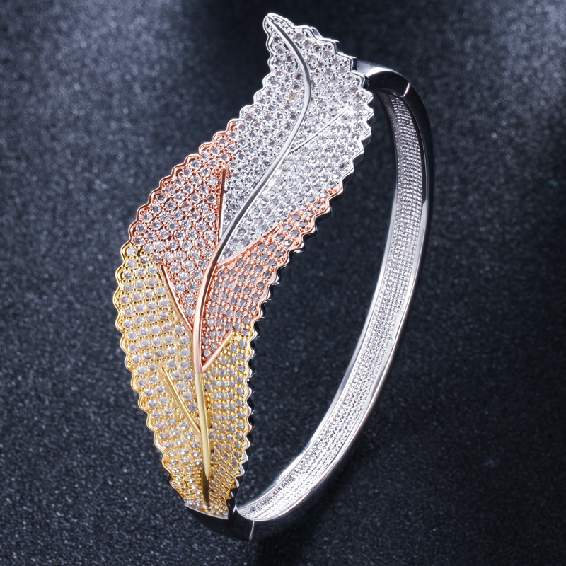 CWWZircons 3 Tones Silver and Rose Gold Color Leaf Shape Big Micro Pave Cubic Zirconia Luxury Open Cuff Bangle for Women BG016 HTB18lM7Xh2rK1RkSnhJq6ykdpXan