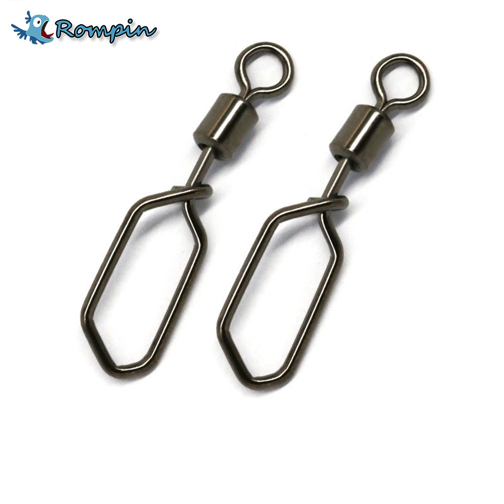 Rompin 20pcs/bag Fishing Square snap pin connector fishing gear accessories Rolling swivelsRompin 20pcs/bag Fishing Square snap pin connector fishing gear accessories Rolling swivels