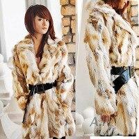 2018 real women natural rabbit fur coat genuine rabbit fur middle long jacket winter garment overcoat vest lady real fur coat