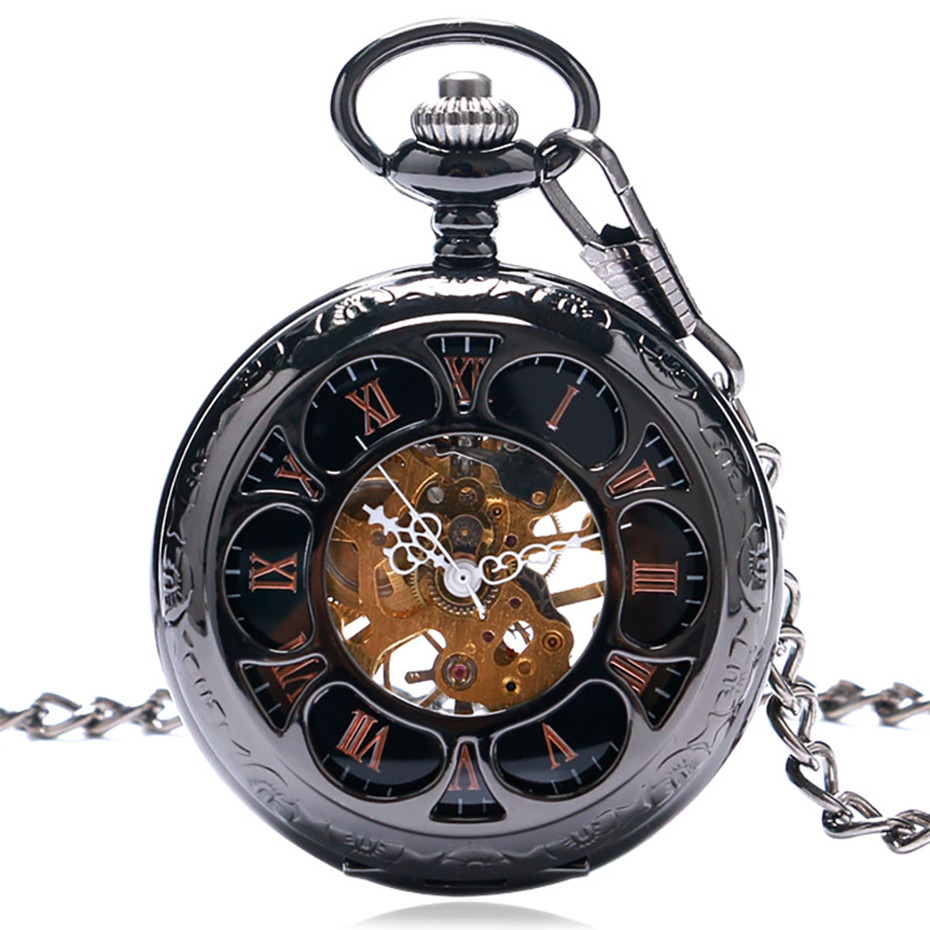 Vintage Black/Silver Semicircle Mechanical Hand Wind Pocket Watch Chain Luxury Steampunk Women Men Watches Fob Male Clock Gifts