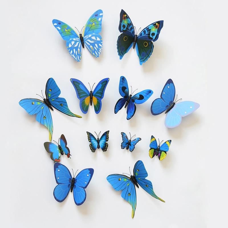 12pcs Multi Colors font b 3D b font PVC font b Butterflies b font DIY font