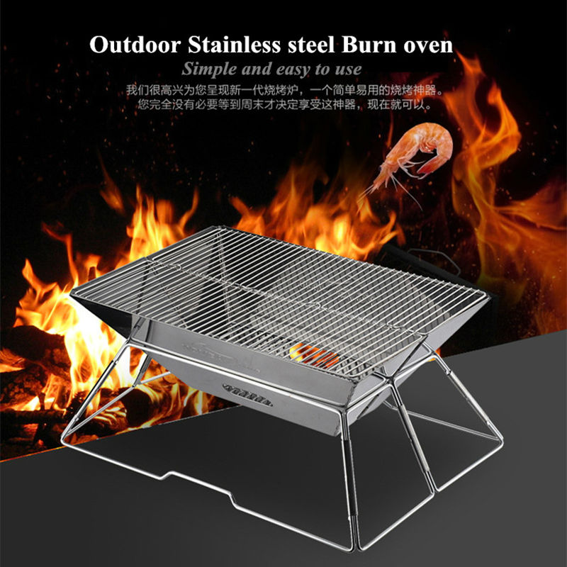Brand Stainless steel barbecue stove portable BBQ charcoal grill outdoor folding picnic Burn oven roasting stove Churrasco stainless steel outdoor folding travel mug silver 50ml