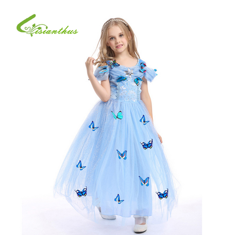 Children's Halloween Cinderella Princess Dress Girls Winter Snow Butterfly Decoration Cosplay Costume Party Performance Dress plastic standing human skeleton life size for horror hunted house halloween decoration
