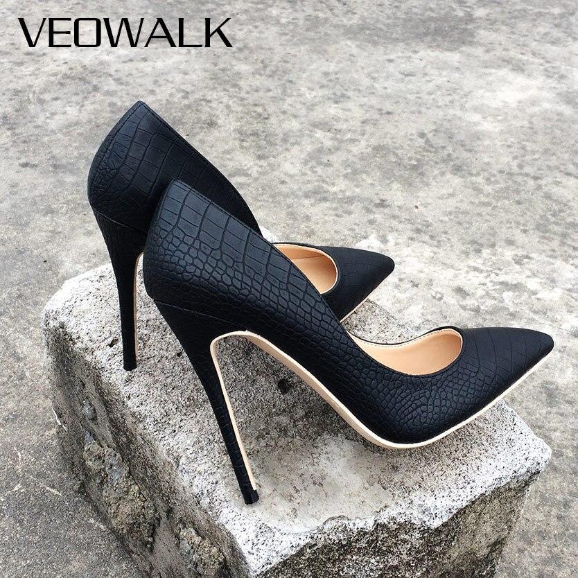 Veowalk Itália Estilo Da Marca Mulheres Clássicas Bombas Dedo Apontado Stiletto Sapatos De Salto Alto Senhoras Sexy Sanke Patern Conforto Sapatas de Vestido Preto