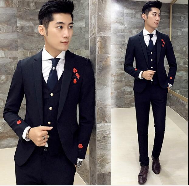 Men\'s three sets Korean wedding groom trend hair stylist embroidery ...
