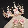 Sweet bride handmade beaded lace Baroque crown golden dress hair headdress flower ceramic