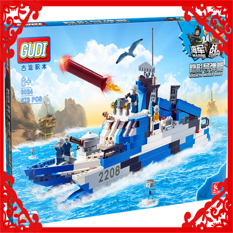 GUDI 8024  Military Series Fighter Boats 578Pcs  Building Block Compatible Legoe DIY Figure  Toy Gifts For Children decool 3114 city creator 3in1 vehicle transporter building block 264pcs diy educational toys for children compatible legoe