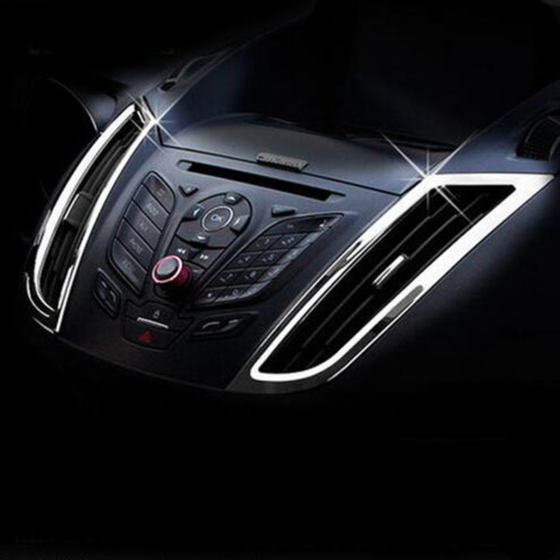 Air Conditioning Front Outlet Cover Interior Trim Chrome ABS Car Accessories For Ford C-MAX CMAX 2011 2012 2013 2014 2015 2GEN for toyota prado j150 2014 2015 abs interior accessories door handle armrest air vent outlet reading lamp cover trims 17pcs set