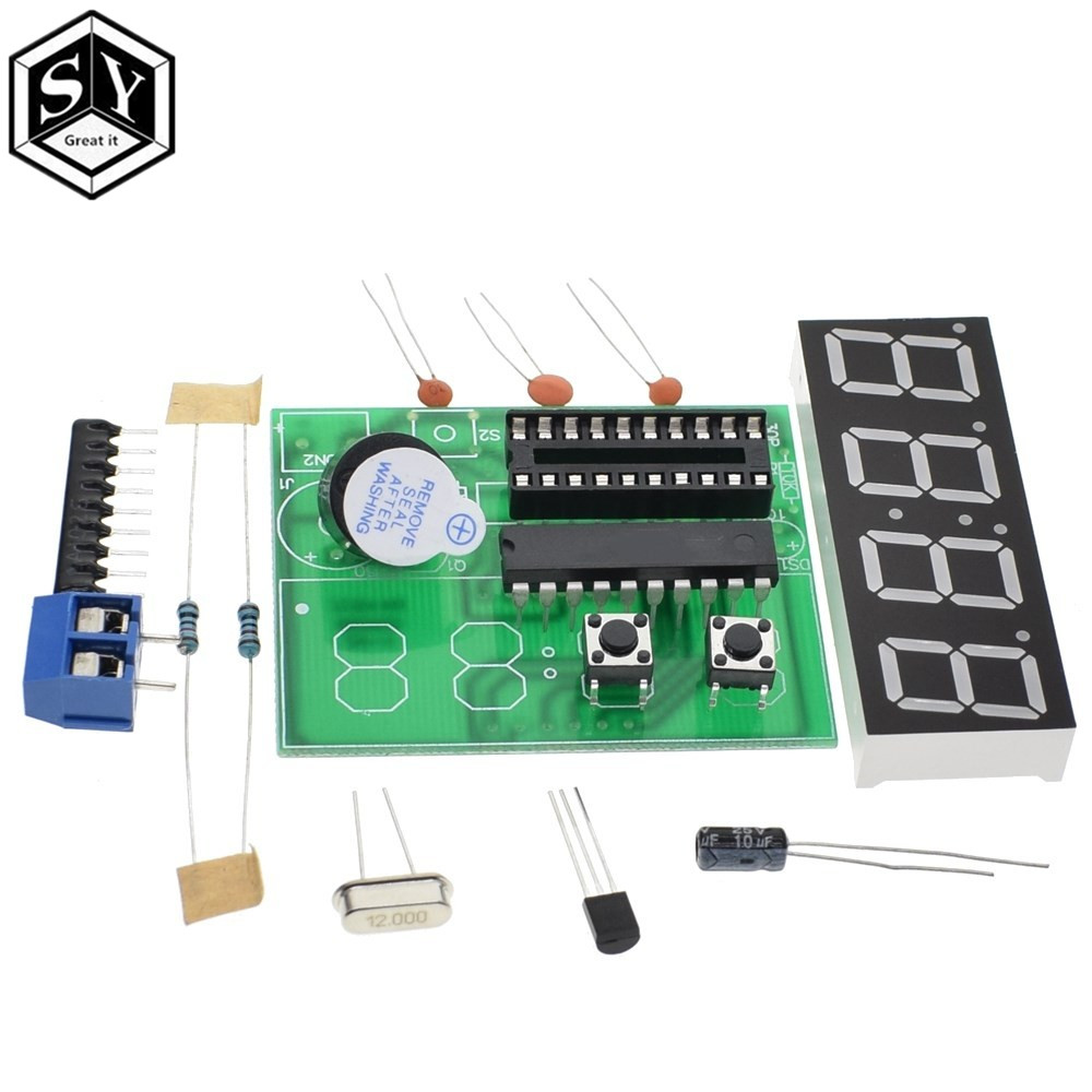 GREAT IT AT89C2051 Digital LED Display 4 Bits Electronic Clock Electronic Production Suite DIY Kit 0.56 Inch Red Two Alarm