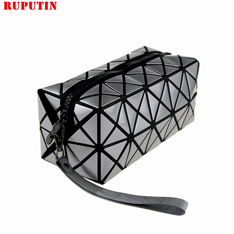 RUPUTIN Fashion Geometric Zipper Cosmetic Bag Women Laser Flash Diamond Leather Makeup Bag Ladies Cosmetics Organizer Package