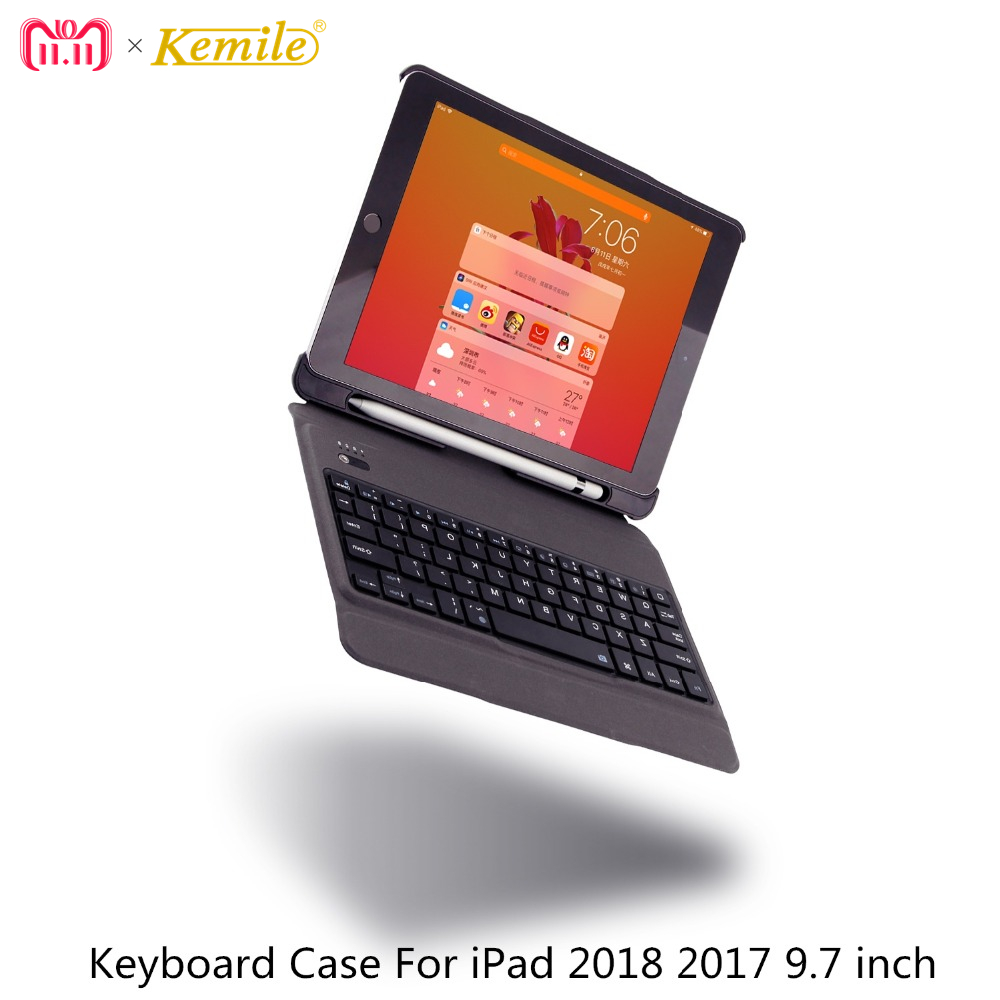 Case For iPad 6th 2018 9.7 inch Removable keyboard W Pencil Holder Stand Leather Cover For iPad 2017 9.7 Case Keypad A1893 A1954 kinston kst91872 ladybug petunia w rhinestones pattern pu case w stand for iphone 6 multicolored