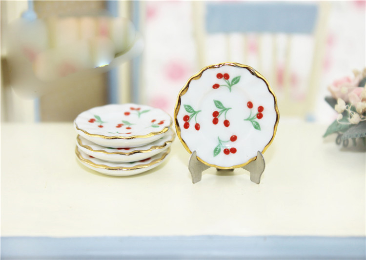 4pcs 1:12 Dollhouse Miniatures Cherry Dishes Plate Tableware Kitchen AccessB US