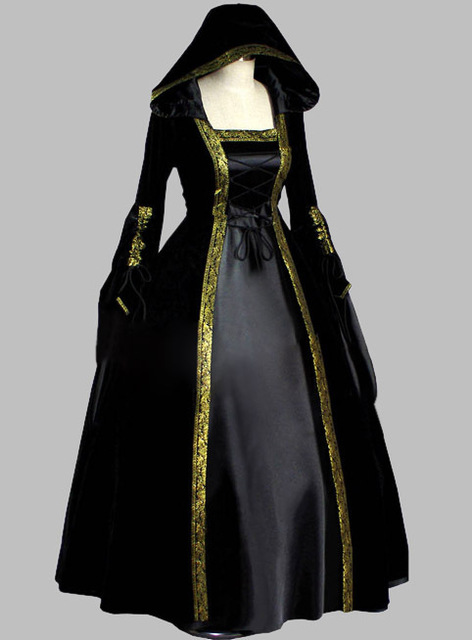 Gothic Black And Gold Trim Historical Court Dress Witch Costume Party Cosplay