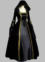 Gothic Black and Gold Trim Historical Court Dress Witch Costume Party Dress Cosplay Dress