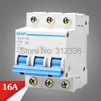 Free Shipping 2 years Warranty DZ47 60 C16 3P 16A 3 pole domestic C type small air switch unipolar Electric shock protection