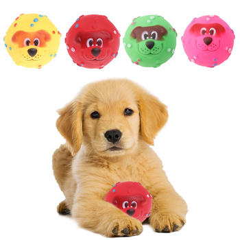 1Pc 7CM Pet Dog Giggle Ball Tough Treat Training Chew Sound Funny Toy SqueakyC42