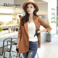 Dabuwawa Leather suede faux leather jacket Women Khaki Color 2018 Autumn Winter Women Blazers And Jackets Solid Female